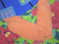 Child's Feet In Peonies